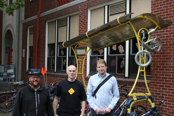 We had three special guests(from left to right): Greg the city of portland bike safety coordinator, Ronald a bike planner from the netherlands, and Ben an Umbrella board member